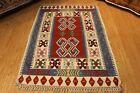 kILIM TURKISH GEOMETRIC RUG 4' x 6'  100% wool Navajo design handmade hand woven