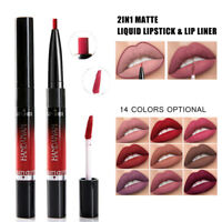 2 In 1 Waterproof Matte Liquid Lipstick Lip Liner Pen Pencil Long Lasting Makeup