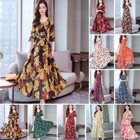 Plus-Size Women Floral Long Maxi Dress Boho Short Sleeve Party Beach Sundress