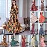 Plus Size Women Floral Long Maxi Dress Boho Short Sleeve Party Beach Sundress
