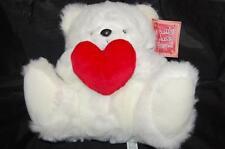 "White Teddy Bear Red Heart Soft Plush Stuffed Toy 12"" 1999 WT Animal Adventure"