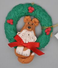 Cecile Baird Rough Collie Dog in Wreath Ornament Polymer Clay