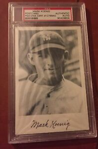 Mark Koenig Signed Photo Postcard 1927 NY Yankees Murders' Row  PSA