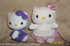 "Hello Kitty Plush Lot of 2 Purple Dress 6"" 2012 & Pink White Dress 7"" 2003"