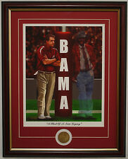 ALABAMA football Nick Saban and Coach Bryant in the shadows framed print & coin