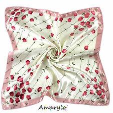 Foulard Carré satin de polyester (soie artificielle) Fleurs Rouge Rose