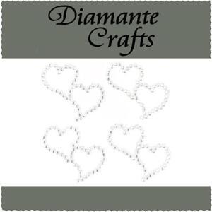 4 Clear Diamante Entwined Heart Vajazzle Rhinestone Body Art Self Adhesive Gems
