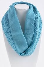 B73 Lace Dual Side Turquoise Aqua Blue Geometric Pattern Infinity Scarf Boutique