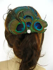 New Peacock Diamante Feather Hair Clip Fascinator Handmade in UK 'Lady'