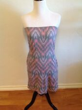 BILLABONG Pink & Gray Tribal Strapless Dress With Pockets! Size XS Small S
