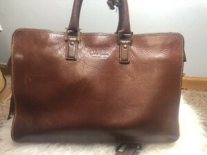 Cole Haan Brown Leather Briefcase brown laptop carry all shoulder strap