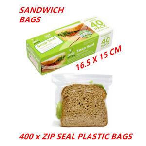 400 ZIP LOCK PLASTIC SANDWICH BAGS MEDIUM RESEALABLE SEAL RECLOSABLE REUSABLE