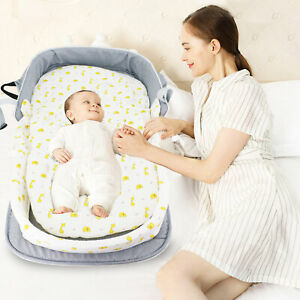 Satbuy Foldable Baby Bed Portable Bassinet with Mosquito Net Snuggle Nest Harmony Infant Sleeper Travel Bed Green