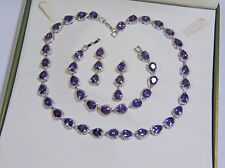 Beautiful White Gold Filled Purple and Clear Crystal Jewellery Set