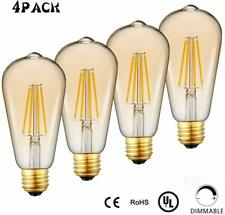 4 Pk 4 Watt Edison Vintage LED Bulb E26 Antique Dimmable Filament Warm 2700K