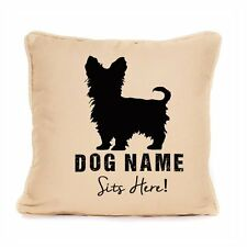 Yorkshire Terrier Sits Here Personalised Gift For Yorkie Cushion With Pad