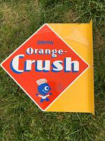 ORANGE CRUSH  NOSTALGIC VINTAGE ERA  WALL FLANGE ADVERTISING SIGN CRUSHY
