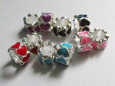 Lot de 10 Perles rondelles métal coeurs émaillées en mélange
