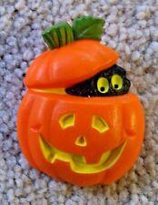 Hallmark Halloween  PUMPKIN with BLACK CAT PEEKING OUT Lapel  PIN