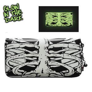 Banned Womens Skeleton Wallet Gothic Punk Glow in theDark Horror Zip Wallet