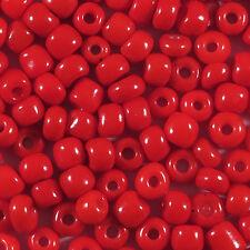 Perles de Rocailles en verre Opaque 4mm Rouge 20g (6/0)