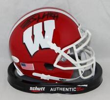 JJ Watt Signed Wisconsin Red Schutt Mini Helmet JSAW Auth/Watt Holo *Blk/WFM