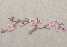 Iron On Patch Embroidered Applique Pink Flowers Cherry Blossom Brown Stem LARGE
