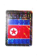 NORTH KOREA COUNTRY FLAG  METALLIC BUMPER STICKER DECAL .. 4 X 3 INCH