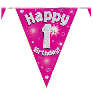 Happy 1st Birthday Bunting Pink Holographic Foil Party 3.9m ,11 Flags by Oaktree