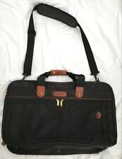 """Brookfield by Hartmann Black 21"""" Carry On Tote Bag w/ Brown Leather"""
