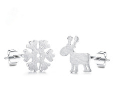 AU 925 Sterling Silver White Gold Cute Christmas Reindeer Snow earrings studs