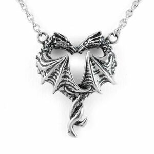 CONTROSE Controse Silver-Toned Stainless Steel Steamin Hot Love Dragon Heart ...