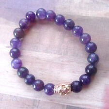 Unisex Rose Gold Plated Skull Beaded Stretch Bracelet with Purple Agate Beads