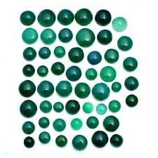 352 Cts Natural Green Onyx Round Cabochon 52 Pcs Loose Gemstones Lot ~ 8mm-16mm