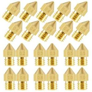 Extruder Nozzle MK8 Düse 0,2/0,3/0,4/0,5/0,6/0,8/1mm 3D drucker 1,75 / 3,0mm