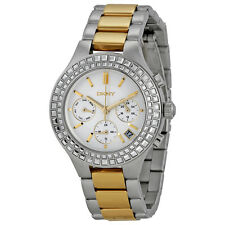 NIB DKNY Chambers Chronograph White Pearlized Dial Two-tone Ladies Watch NY2260