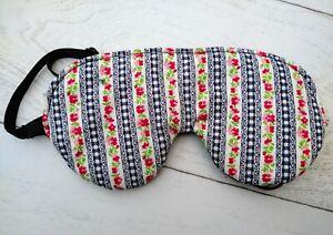 Adjustable Hand Made Sleep Mask flowers stripes