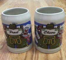 Pair of Sohm .5 L German Beer Stein Steins Mugs Prost Cheers Auf Geht's Euc!