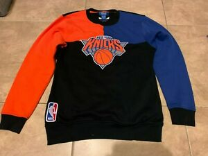 New York Knicks Black w/ Blue Orange Adidas Pullover Sweat Shirt M Medium NICE