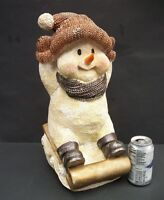 """Large Snowman on Sled Holiday Decor Christmas About 17 1/2"""" Tall Centerpiece"""