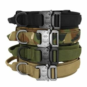 Dog Collar Military Tactical Collars For Walking Training Durable Control Handle