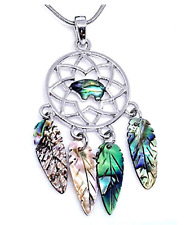 Tide Dream Catcher Paua Abalone Shell Necklace Pendant Snake Chain Gift Box