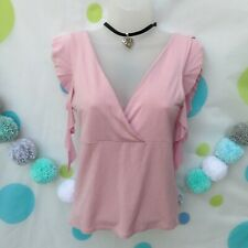 JANE NORMAN 90s 00s Y2k Pink Plunge Tunic Top Size 14 Stretch Frill