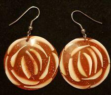 Glitter Earrings. Red Rose Shell