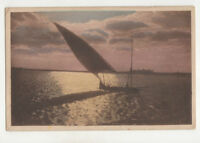 Egypt Sailing Boat On The Nile At Sunset Vintage Postcard US010