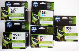 HP 950XL 951XL INK CARTRIDGES, QTY. 5, BLK, YEL, CYN, MAG, NOS SEALED, OEM