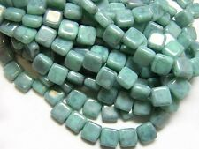 6mm Turquoise Blue Picasso Czech Glass 2 Hole Tile Beads (25) #2742