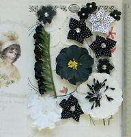BLACK & WHITE Mix - 13 Paper & Satin Flowers - 8 Styles 10-50mm across VD4