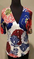 Talbots Women's Multi-Color Floral Short Sleeve Button Cardigan Sz Petite M