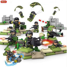 Camouflage Parachute Military Army Soldier with Many Weapons Tool Fit Lego, 6pcs